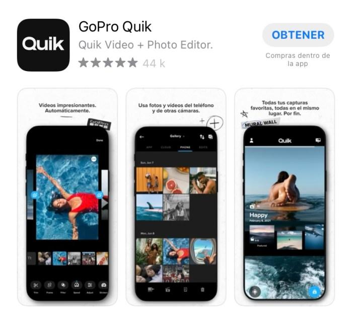 captura de pantalla de la aplicación quick