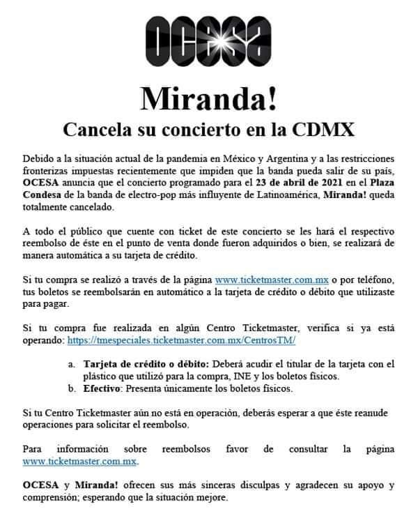 Miranda cancela su concierto en CDMX con fecha del 23 de abril en el plaza condensa