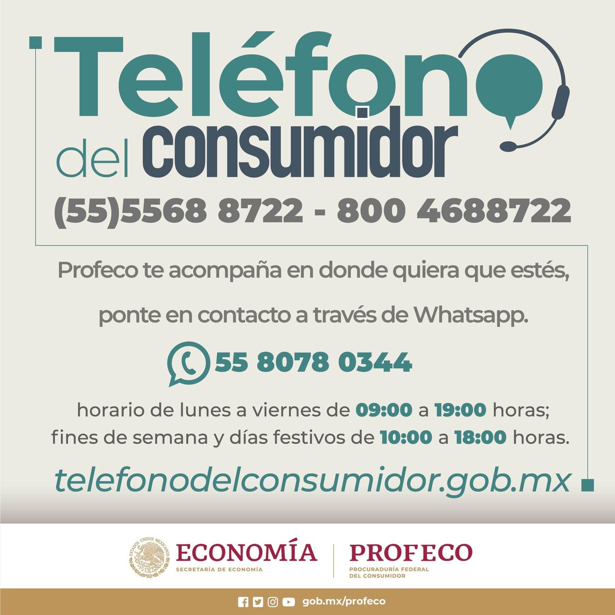 Datos de contacto de la Procuraduría federal del consumidor.
