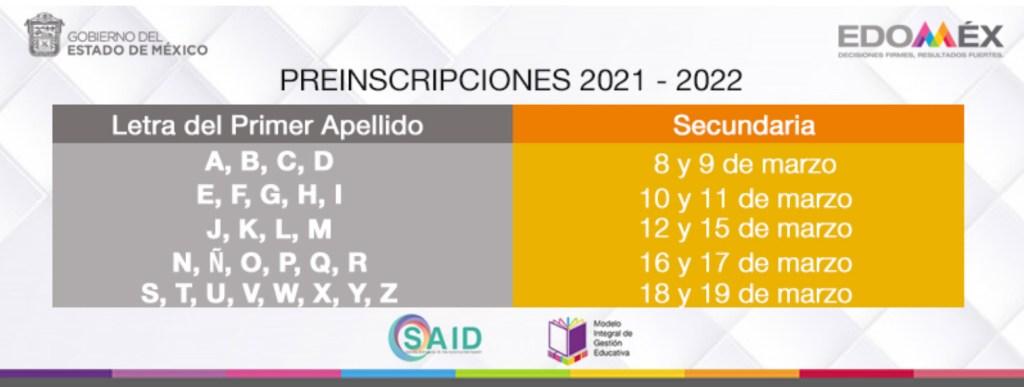 preinscripciones secundaria 2021 estado de México así como las fechas para realziar este tramite de acuerdo a la secretaria de educación del estado de méxico