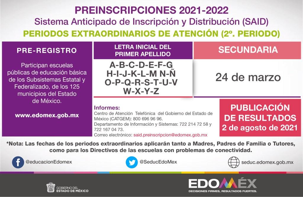 el sistema anticipado de inscripción y distribución SAID 2021 emitio un periodo extraordinario de preinscripción para el nivel secundaria