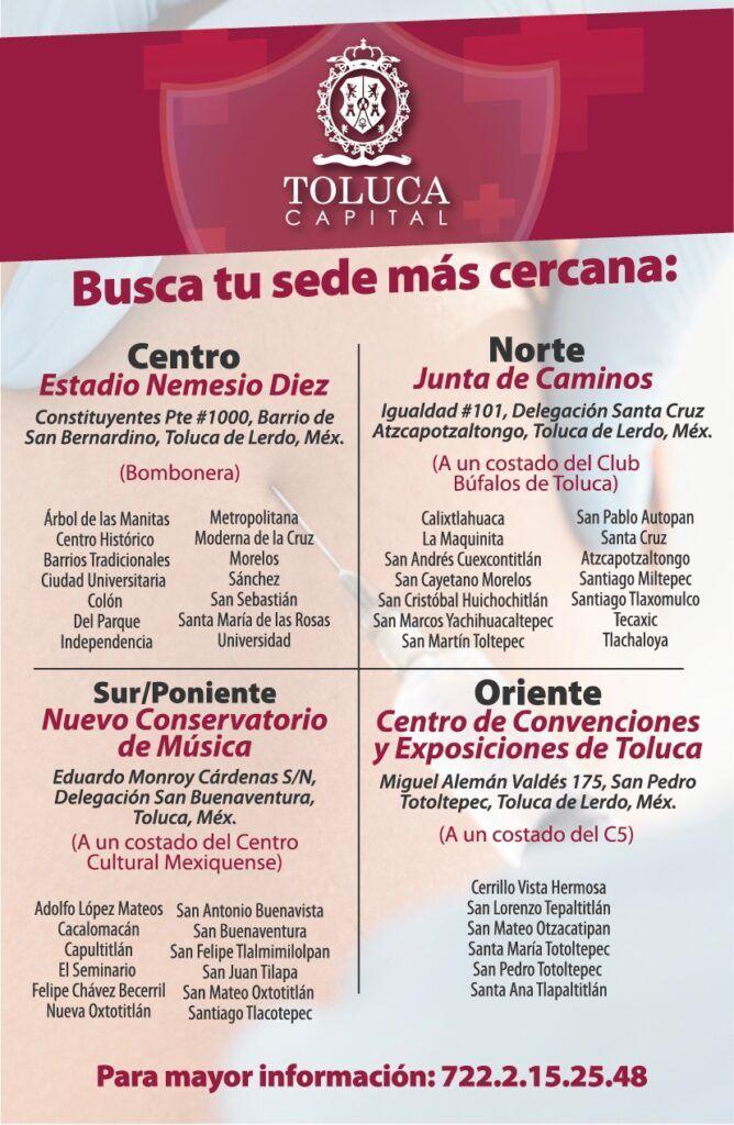 El gobierno municipal de Toluca realizó una lista por colonias de acuerdo a la cercanía con cada módulo de vacunación contra COVID-19