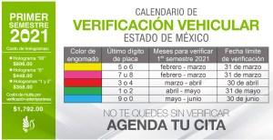 calendariso de verificación vehicular estado de méxico 2021 del primer semestre, asi como los costos por holograma y por multa