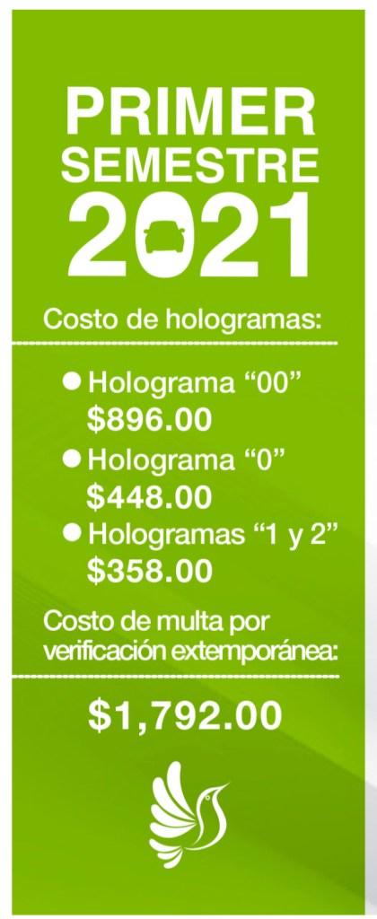 consulta en esta imagen las fechas, hologramas, mes que te tocará para realizar la verificación vehicular en el Estado de México. Además, podrás consultar los precios de este trámite
