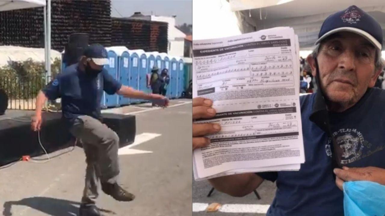 Don Ignacio García se puso a bailar mambo luego de recibir vacuna contra el covid-19 en el municipio de Huixquilucan