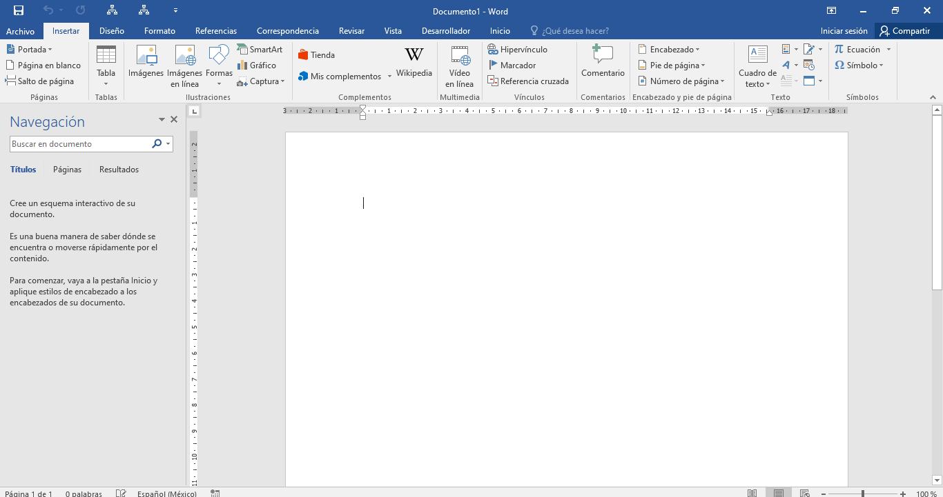 Captura de pantalla de un documento nuevo de word