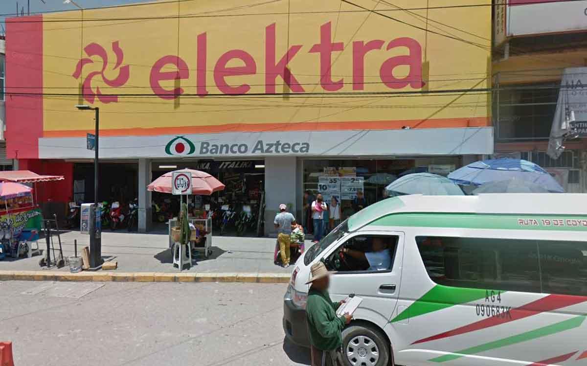 Edomex imagen de elektra y banco azteca en Huehuetoca.
