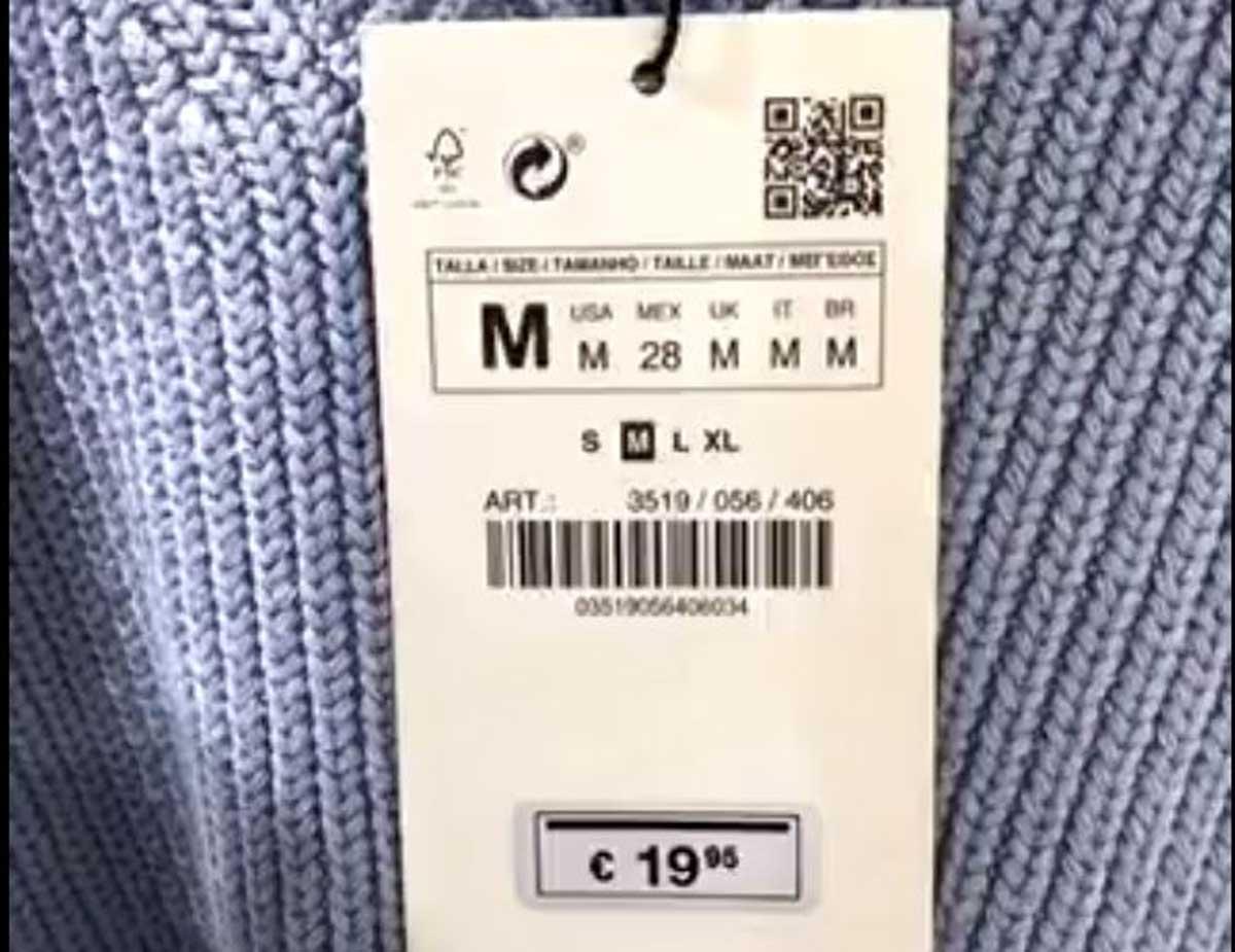 Edomex imagen de la etiqueta con el precio.