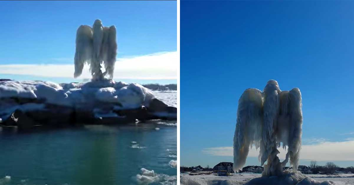 EE UU imagen de una figura de hielo que parece un angel