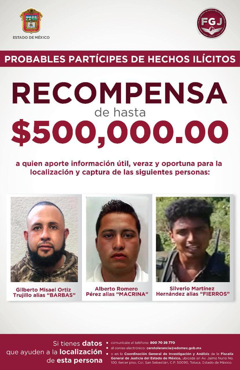 FGJEM ofrece recompensa de hasta 500 mil pesos para detener a