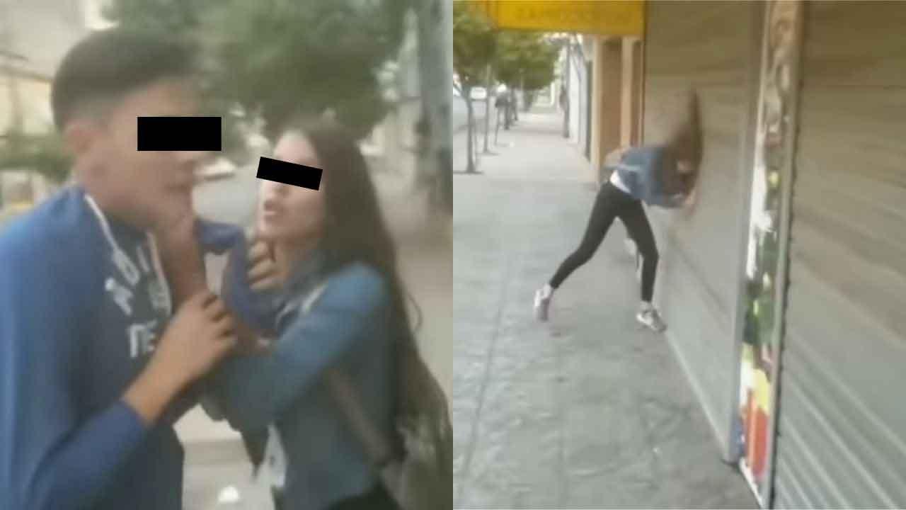 Video viral de una joven que agrede a su novio y al ser evidenciada se lanza contra la cortina metálica de un negocio en Argentina