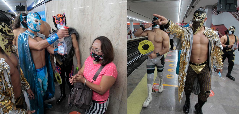 Luchadores el uso del cubrebocas en el metro de la CDMX
