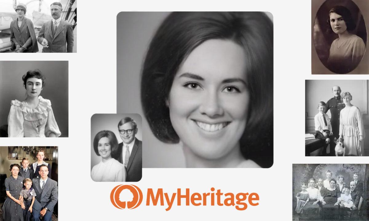 MyHeritage imagen que muestra muchas fotografías de varias personas.