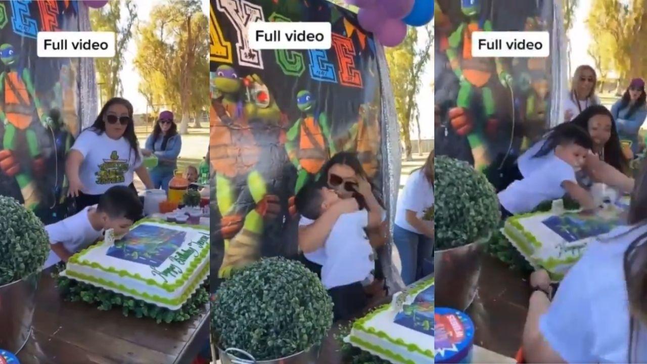 """La grabación fue subida a través de una cuenta de TikTok, en la que se muestra el momento de la """"mordida"""" del pastel de cumpleaños y como el niño se enoja con su tía"""