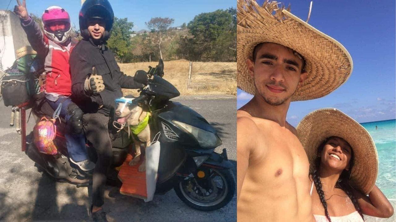 Novios se van de vacaciones con su perro en una Italika de CDMX a Playa del Carmen    VIDEO