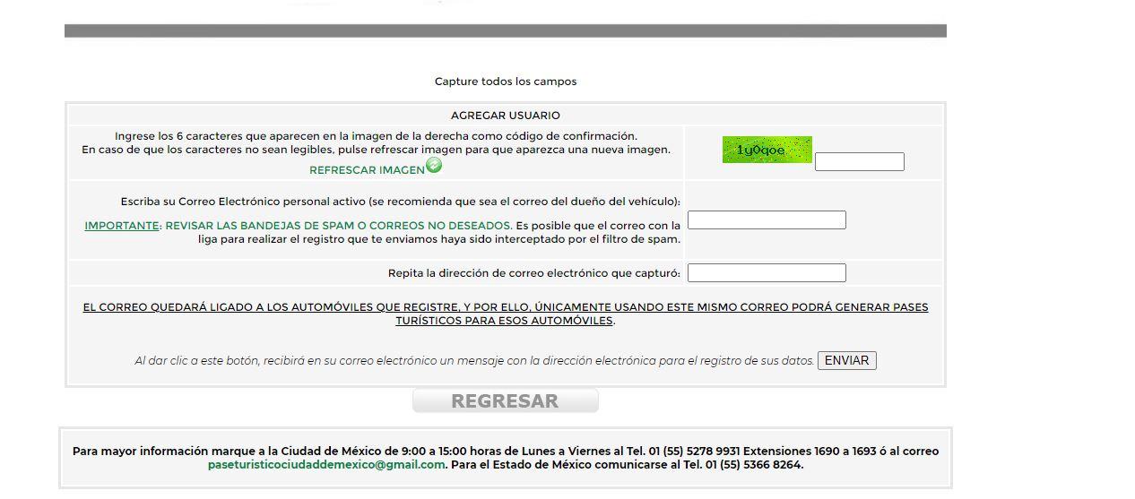 Pase turístico o permiso de circulación para CDMX y Edomex: Estos son los requisitos. Captura de pantalla de la página para registrarse