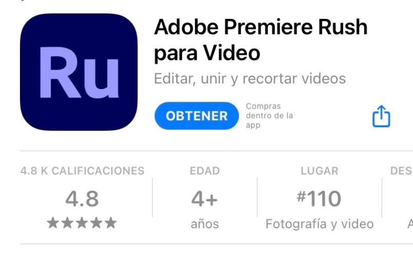 Captura de pantalla de a aplicación premier rush