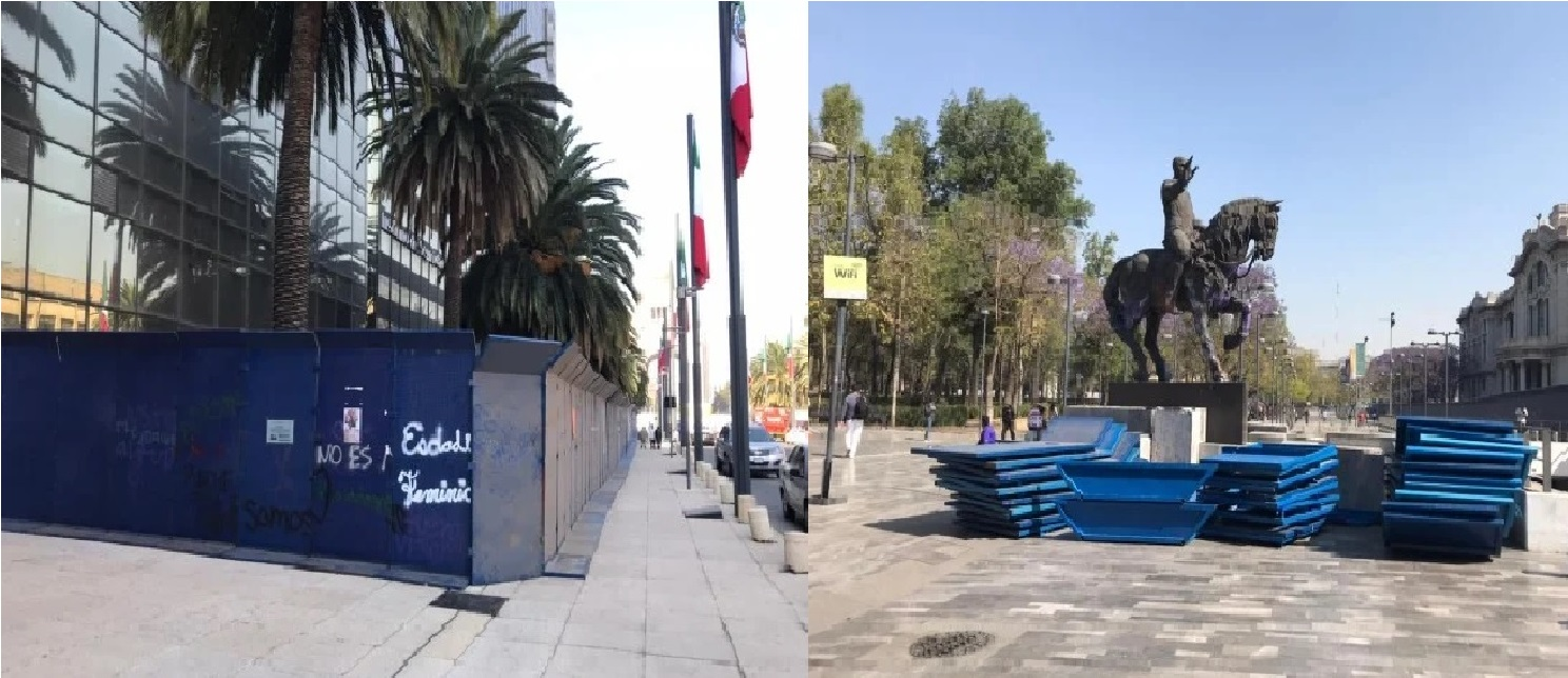 Debido a las próximas marchas del 8M convocadas para conmemorar el Día Internacional de la Mujer, las autoridades capitalinas tomaron la decisión de resguardar los recintos y monumentos de la Ciudad de México