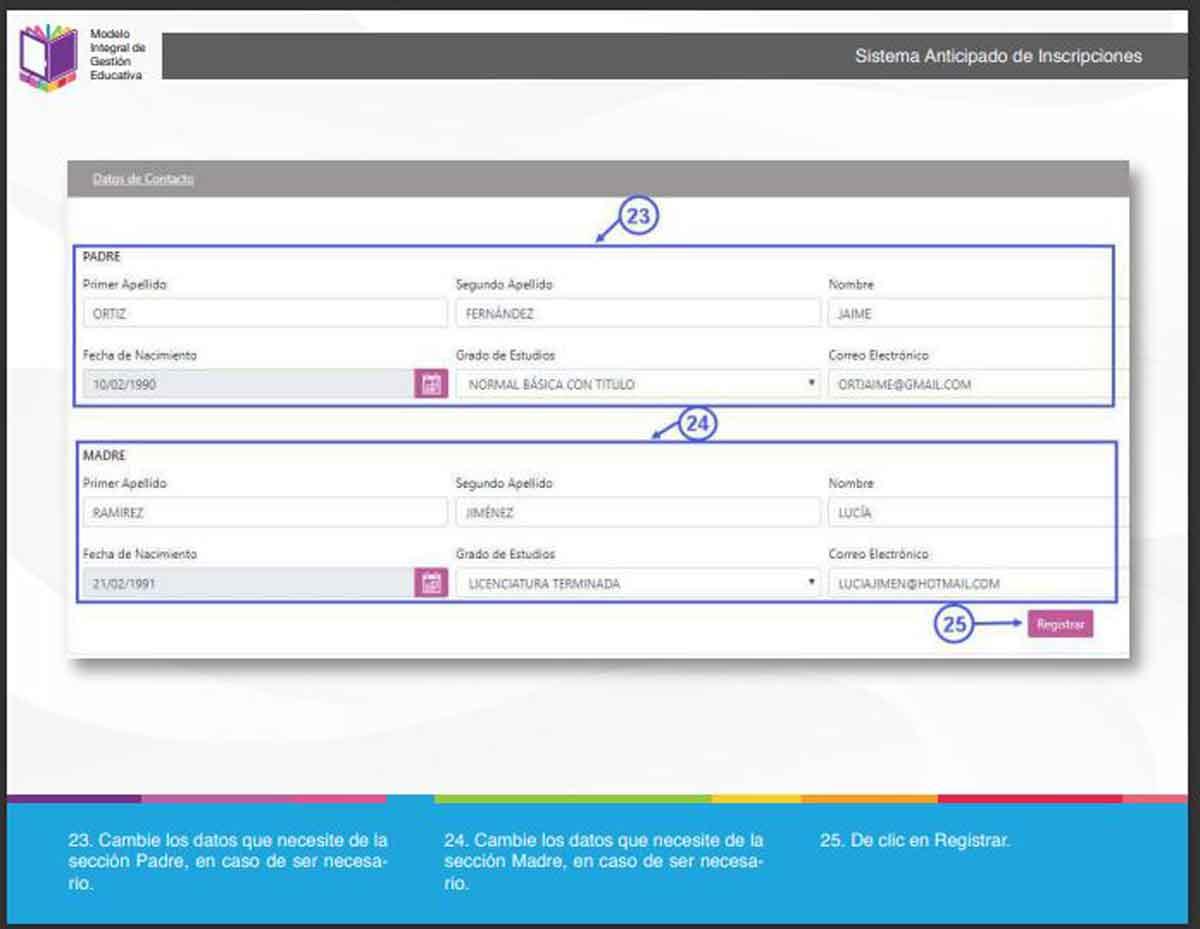 SAID edomex captura de pantalla para modificar los datos de contacto