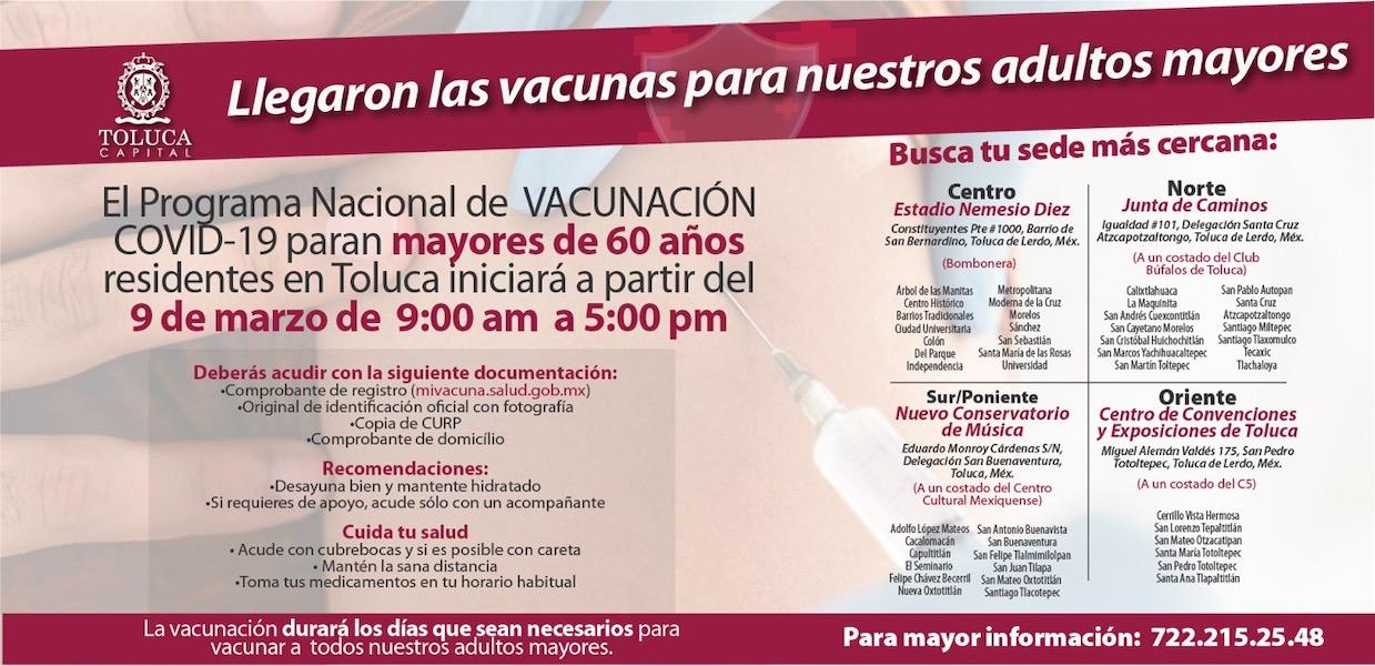 Toluca programa de vacunación adultos mayores