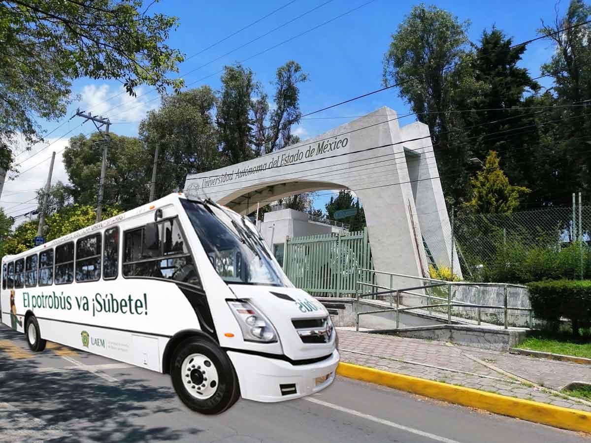 UAEMex imagen de CU con un camión del potrobús