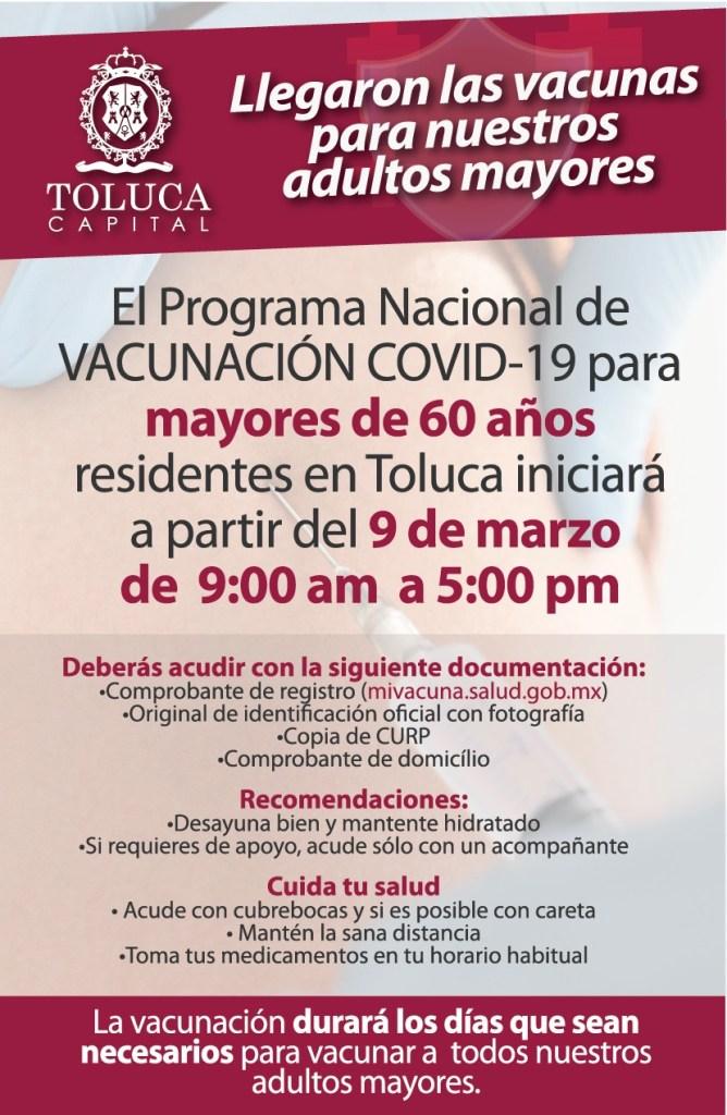 La vacuna contra el COVID-19 que se aplicará en Toluca a partir del próximo martes 9 de marzo será la del los laboratorios Pfizer