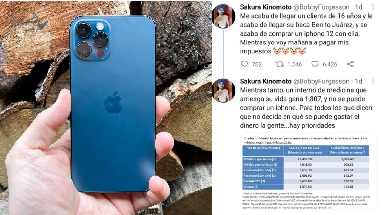 El usuario de Twitter @BobbyFurgesson se quejó de un joven que compró un iPhone 12 con el dinero de su beca Benito Juárez