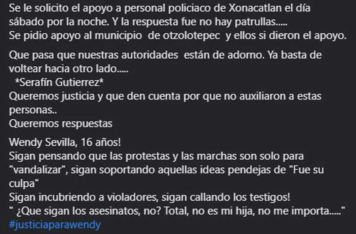 Xonacatlán captura de pantalla de denuncia que autoridades no hicieron nada.