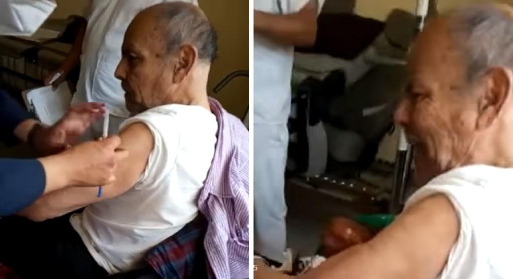 abuelito arremete de forma grosera al ser vacunado y asusta a enfermera, el video se hizo viral en la red social de tiktok