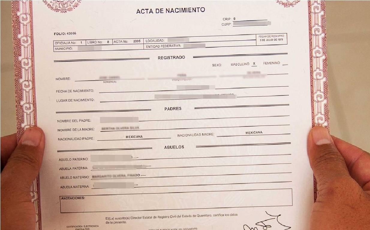 copia certificada del acta de nacmiento