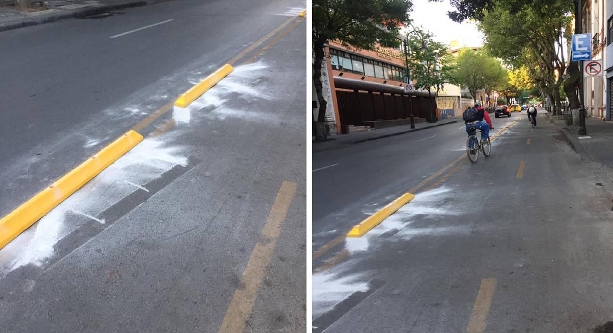 la avenida vicente villada amanecio el día de hoy con limitadores de velocidad que delimitan la ciclovía en esta avenida