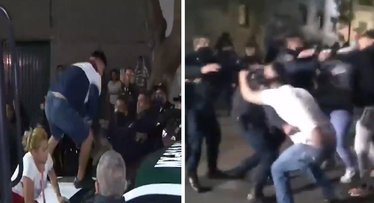 Enfrentamiento campal entre policías y civiles en la colonia daniel garza, Ciudad de méxico, la madrugada del viernes santo del 2021