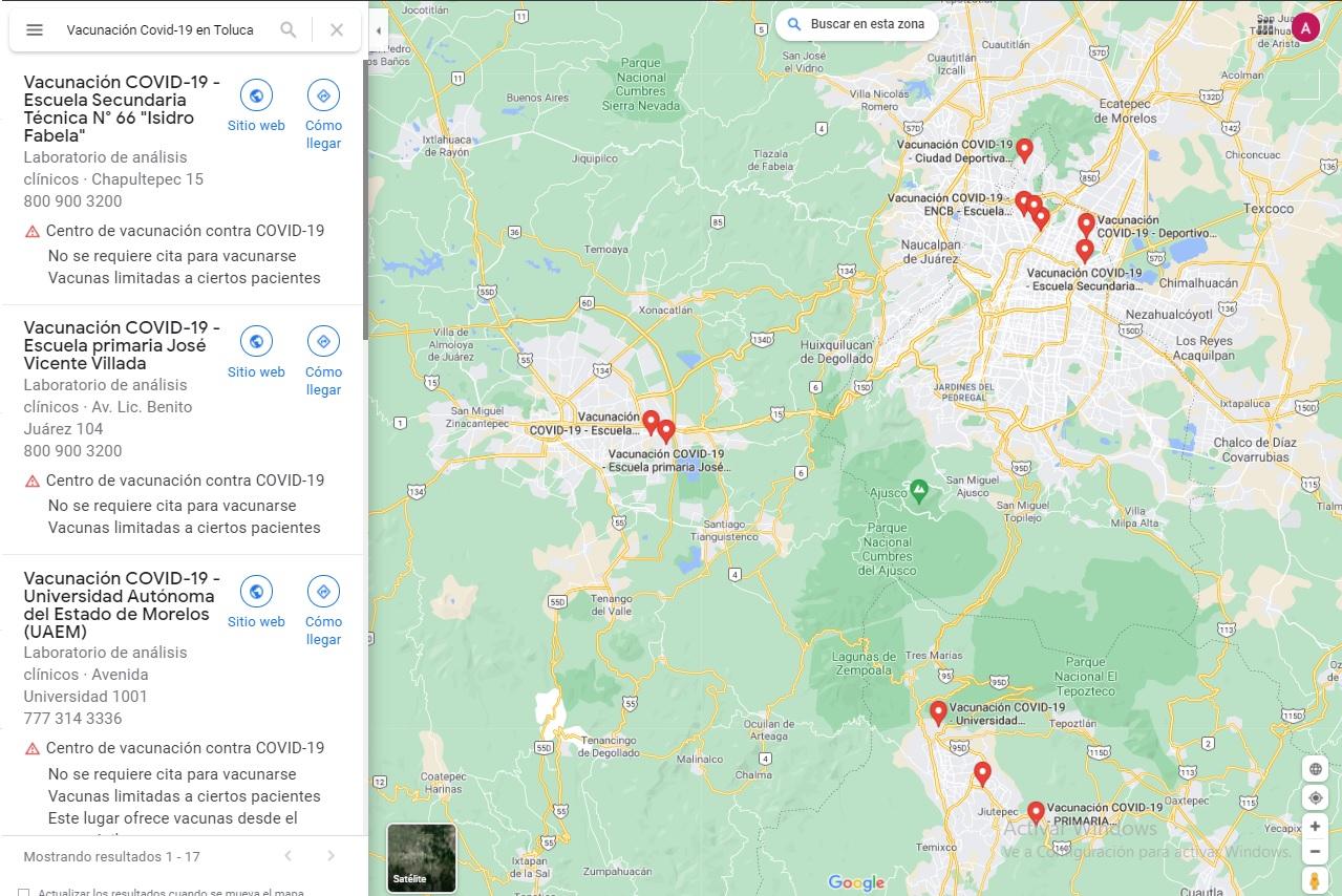 Ubica tu modulo de vacunacion contra COVID despues de tu registro de vacunación 50 a 59 en Google Maps