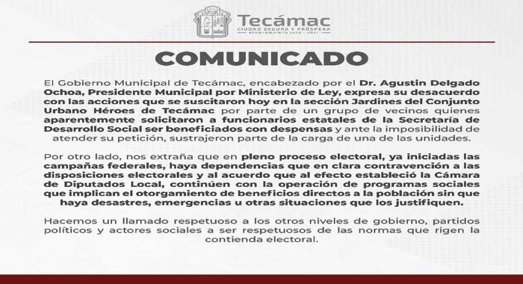 Noticias Técamac, el día de ayer hubo una rapiña de despensas pertenecientes a la secretaría de desarrollo social del Estado de México