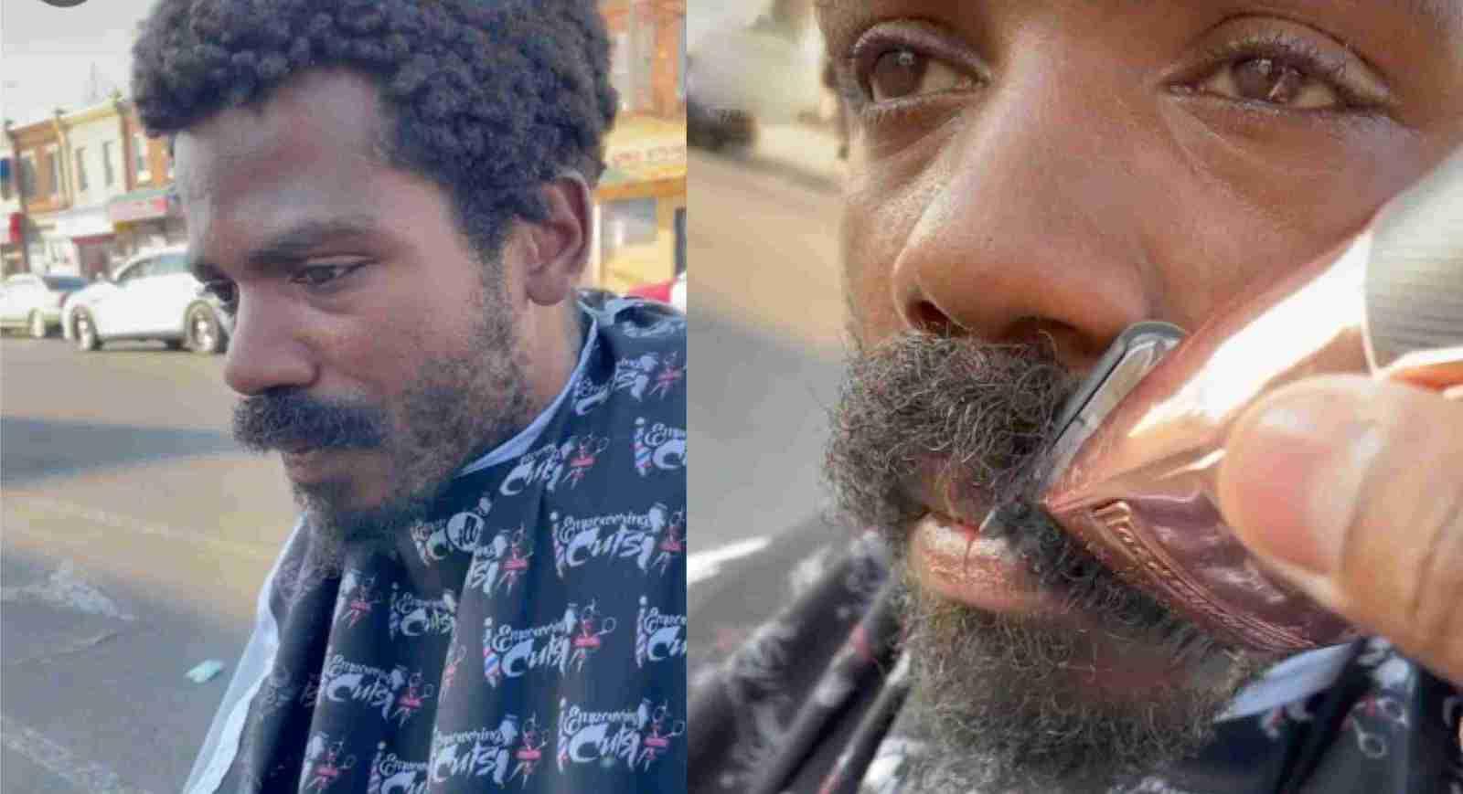 TIktoker ayuda a indigente a cambiar su apariencia cortando su cabello y barba