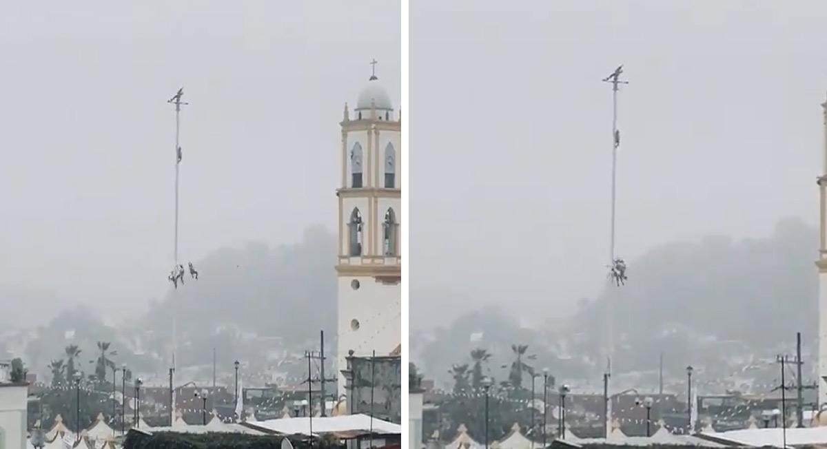 Voladores de Papantla, Veracruz sufren enredo en pleno descenso    VIDEO
