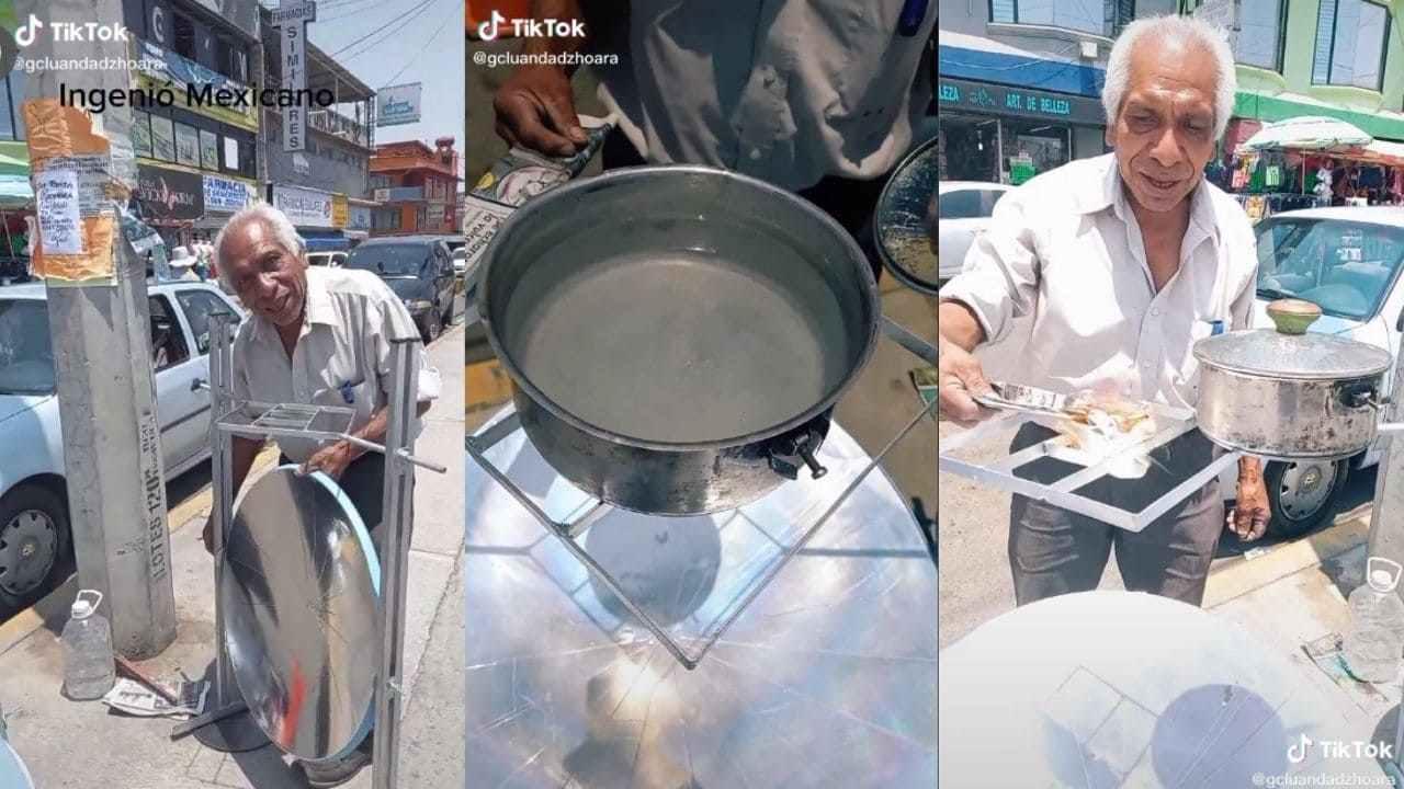 Abuelito se hace viral en TikTok por inventar una estufa solar con material reciclado, a continuacion te presentamos el video