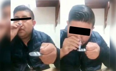 Director de Seguridad Pública de Villa Guerrero fue denunciado en redes sociales por inhalar un polvo blanco con características de la cocaína
