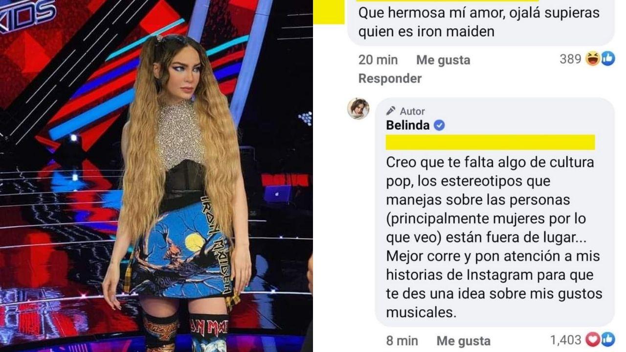 Critican a Belinda por usar ropa de Iron Maiden y la cantante constesta en sus redes sociales