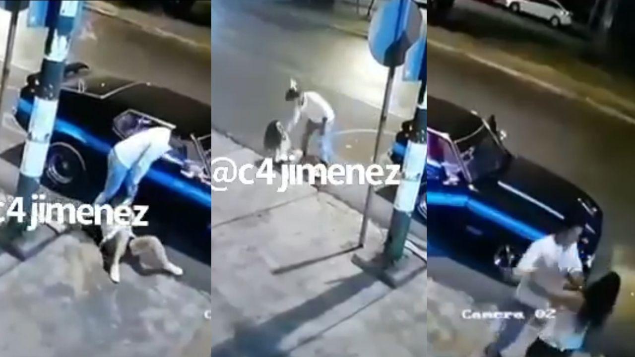 Cámaras de seguridad captan a un hombre golpeando y arrastrando con violencia a una mujer en calles de Coyoacán