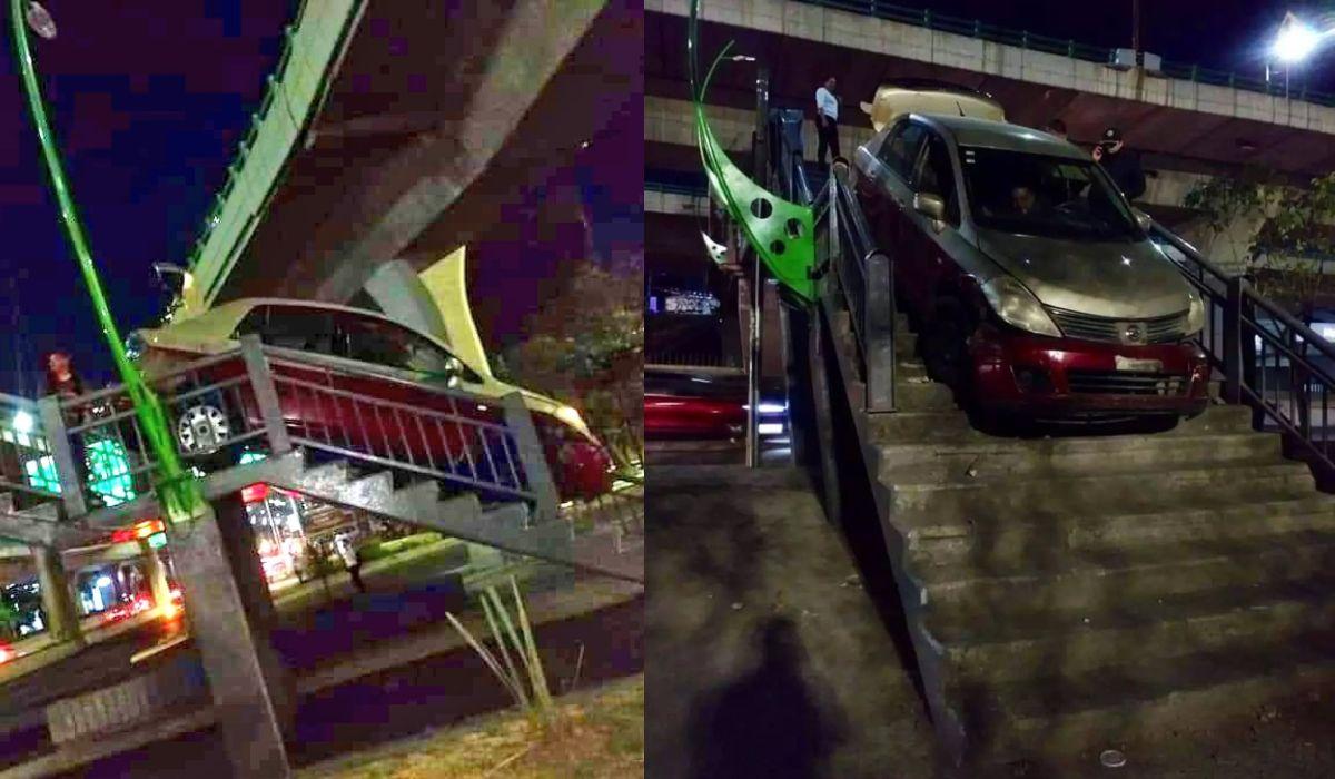 Auto es captado mientras bajaba las escaleras