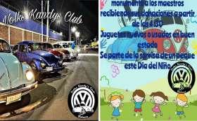 Club de vochos de Toluca recaudan juguetes día del niño.