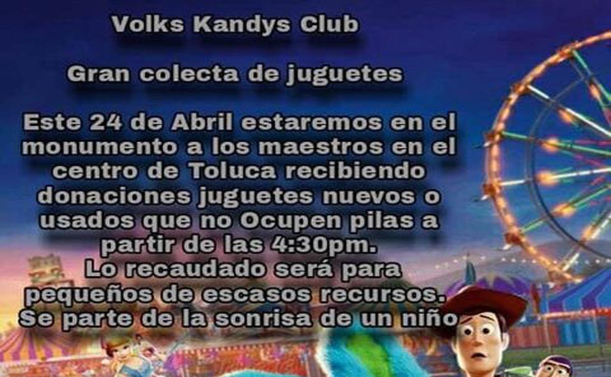 Club de vochos Toluca recauda juguetes para niños en Toluca.