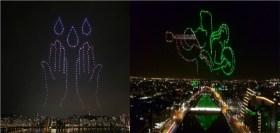 espectaculo con drones escrituras en el cielo