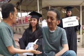 Gran emotividad se vivio cuando esta joven sorprendió a su papa en su trabajo