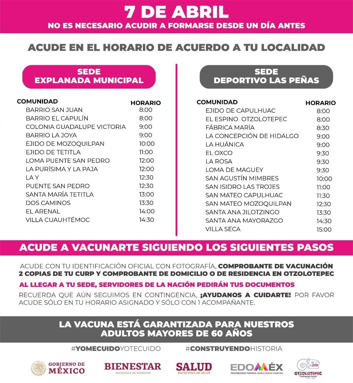 Horarios de la campaña de vacunacion en el municipio mexiquense de otzolotepec