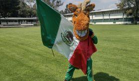 Kuako en una sesión fotografíca con la bandera de México