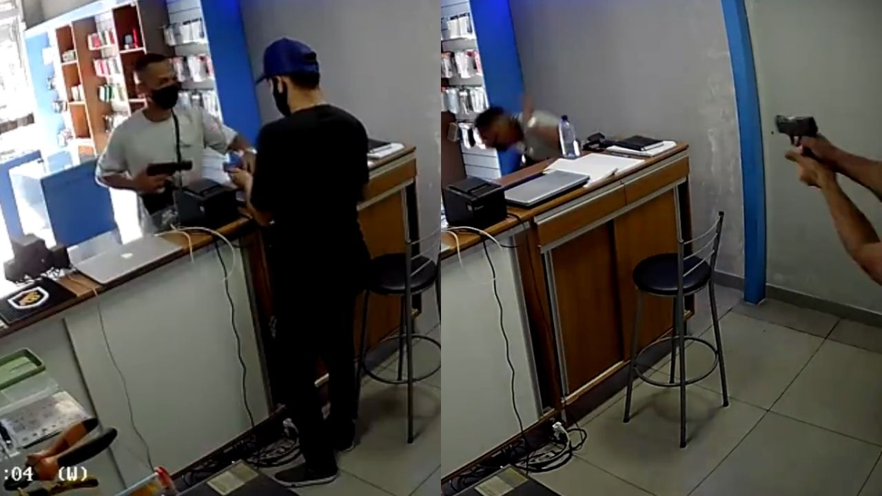 Dueño de una tienda de celulares le dispara a un delincuente por la espalda luego que se disponía a huir con lo robado