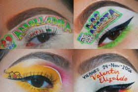 Diseños de una chica que hace maquillaje de ojos