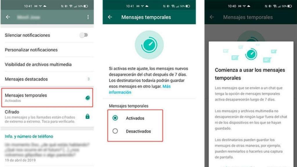 Todos los mensajes que se envíen a un chat individual como grupal después de activar la función en Whatsapp tendrán una duración de 7 días.